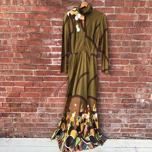1970s Psychedelic  Mermaid Maxi Dress